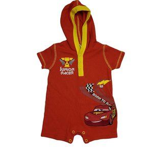 DISNEY CARS Red Hooded Romper 3-6 mo